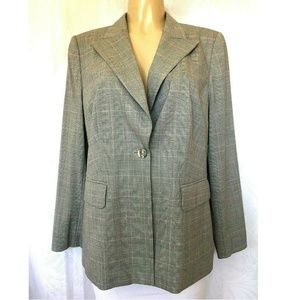 ESCADA Blazer Jacket Gray Glen Plaid One Button L
